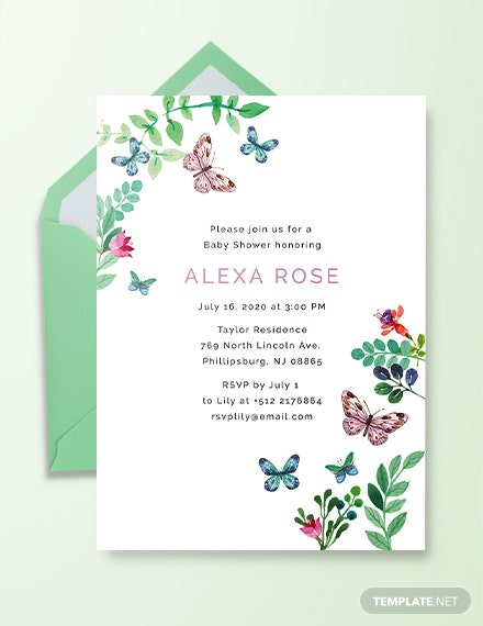 Butterfly Baby Shower Invitation Template