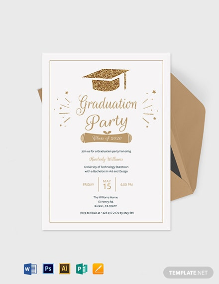 College Graduation Invitation Template Word Psd Apple