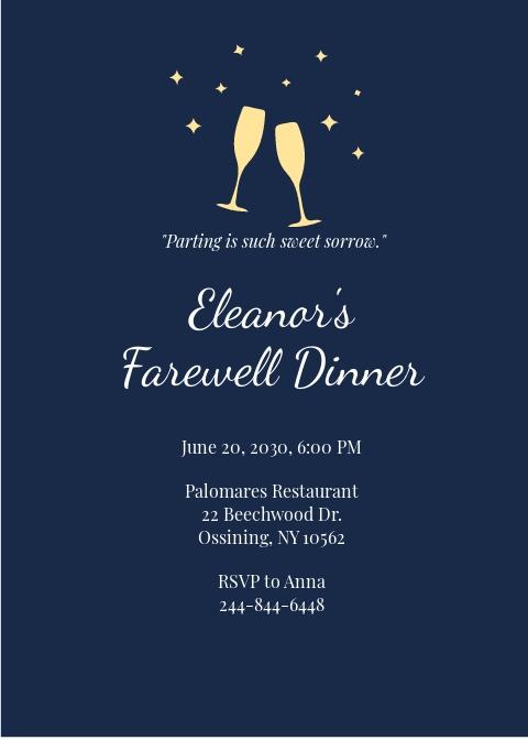 Farewell Dinner Invitation Template