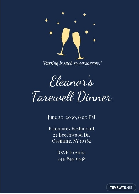 Farewell Dinner Invitation Template