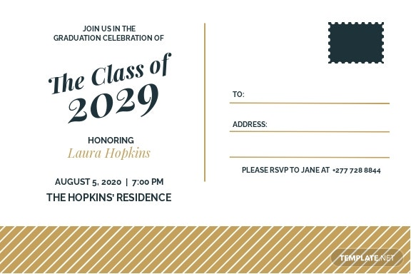 Graduation Postcard Invitation Template