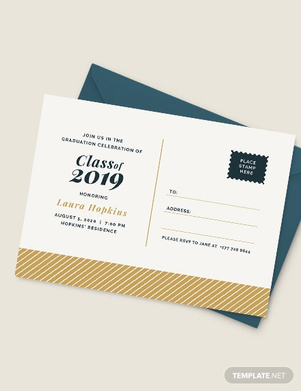 Sample Graduation Postcard Invitation