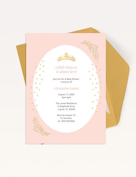 Princess Baby Shower Invitation Download