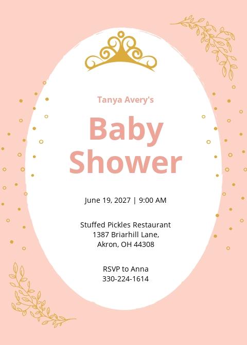 Princess Baby Shower Invitation Template