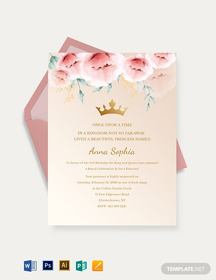 princess invitation template 1