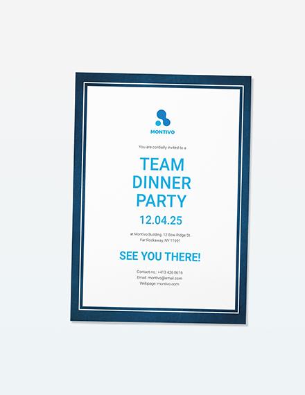 Sample Team Dinner Party Invitation