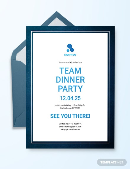 team dinner party invitation template