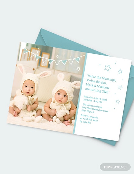Sample Twins First Birthday Invitation