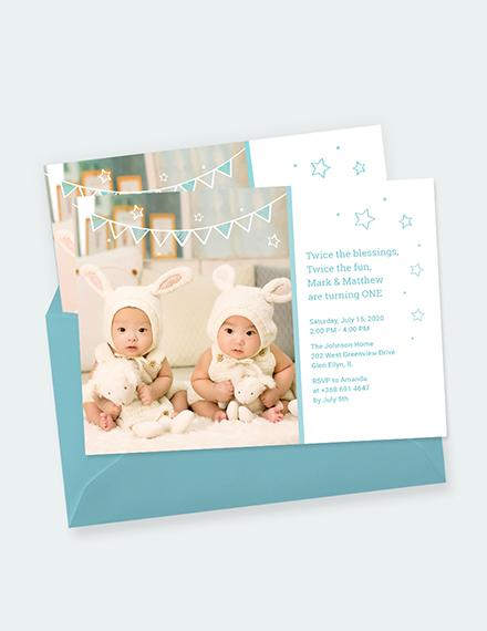 Twins First Birthday Invitation Download