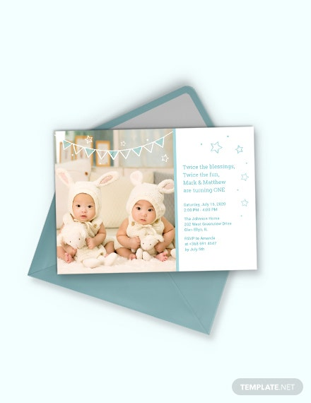twins first birthday invitation template 1