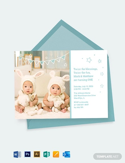 Twins First Birthday Invitation Template