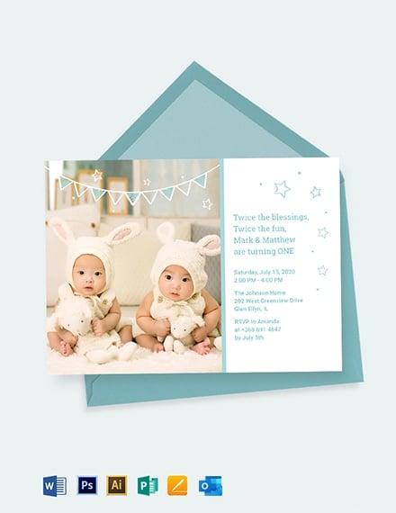 Twins First Birthday Invitation Template