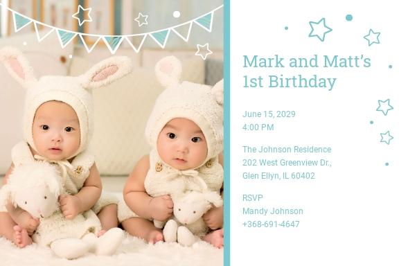 Twins First Birthday Invitation Template.jpe