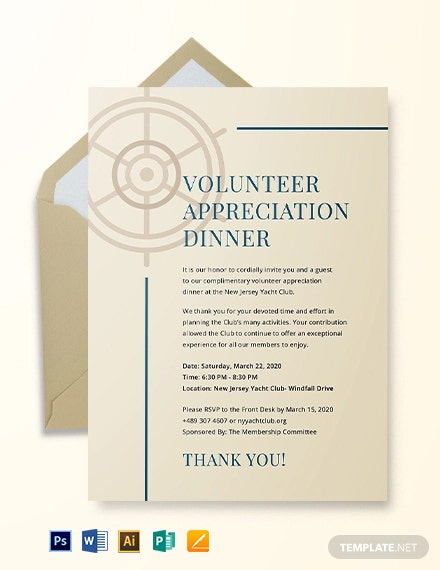 Volunteer Appreciation Dinner Invitation Template