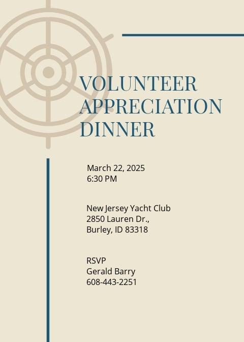 Volunteer Appreciation Dinner Invitation Template