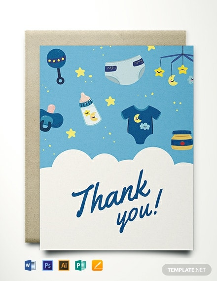 Baby shower thank you card template
