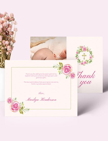 Sample Baptism Thank You Card