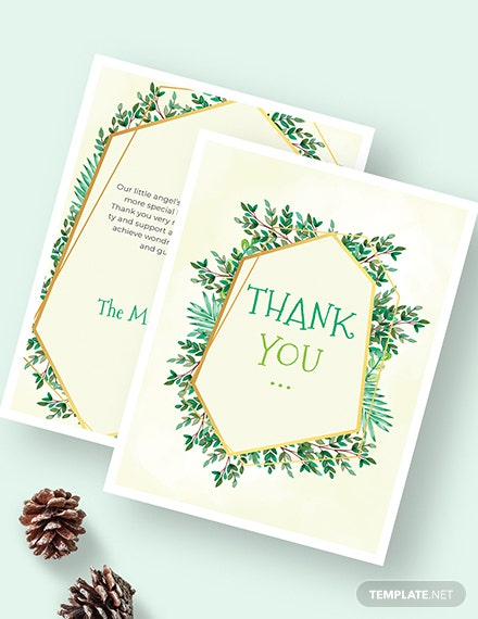 Sample Christening Thank You Card