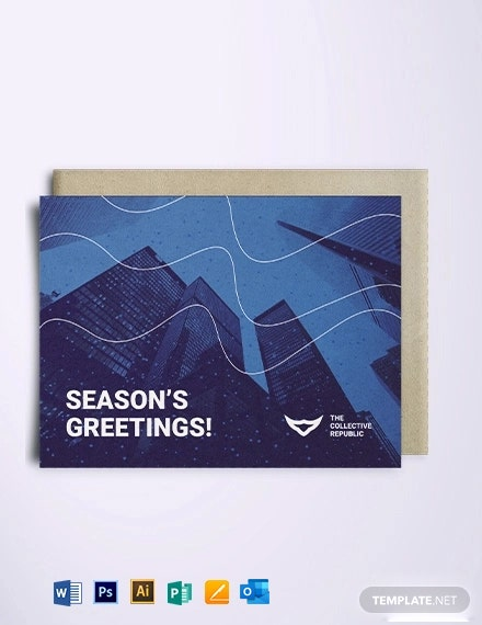 Corporate Holiday Greetings Card Template