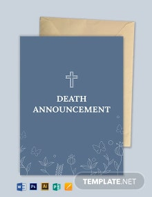 Death Announcement Card Template