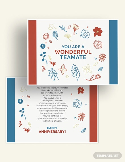 Employee Anniversary Card Download