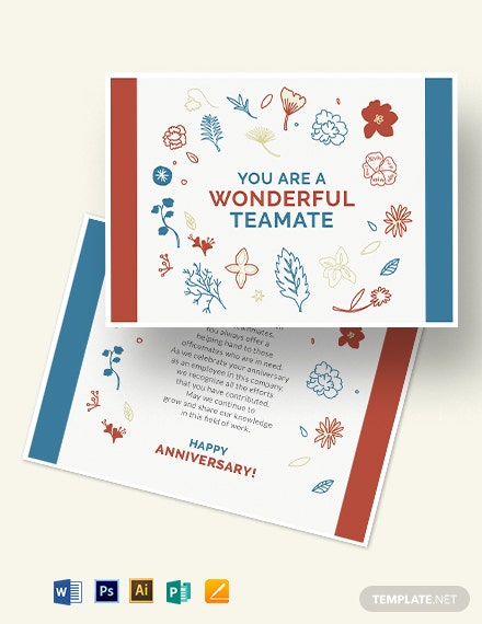 Employee Anniversary Card Template
