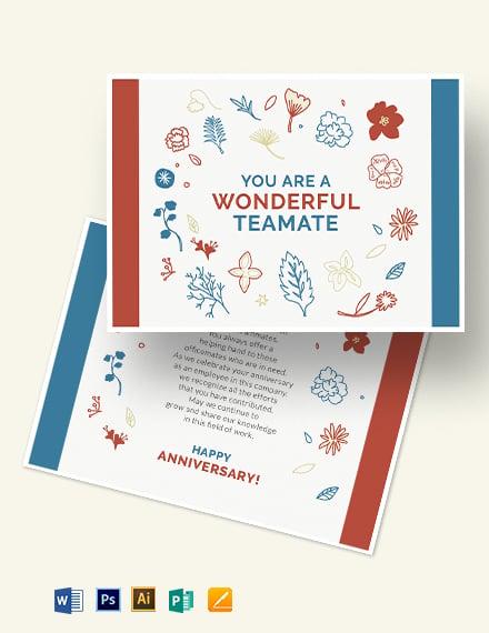 Employee Anniversary Card Template