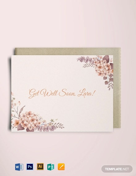 Floral Get Well Soon Card Template