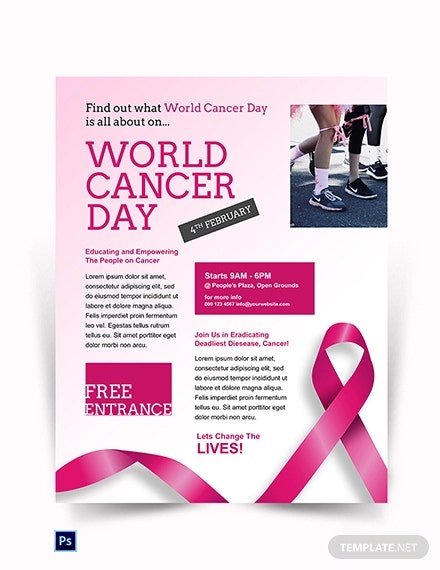 Free World Cancer Day flyer Template