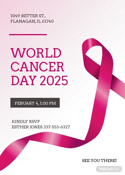 Free World Cancer Day Greeting card Template.jpe