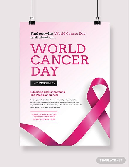 Free World Cancer Day Poster Template