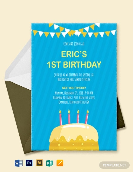 Kids 1st Birthday Invitation Template