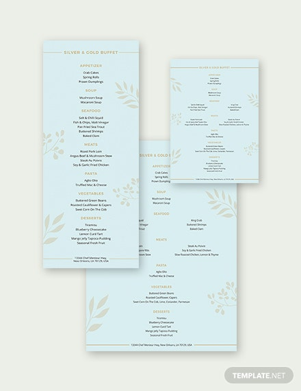 Buffet Menu Template