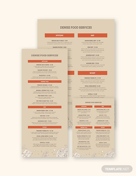 Event Menu Template