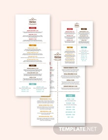 Corporate Event Menu Template
