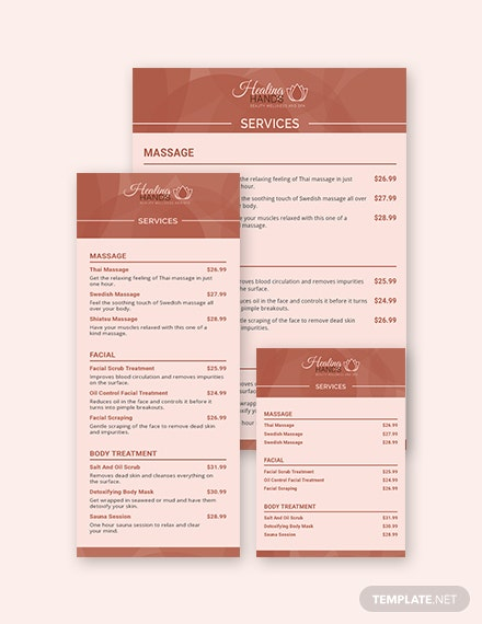 Retro Service Menu Template