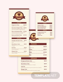 Cafe Table Menu Template