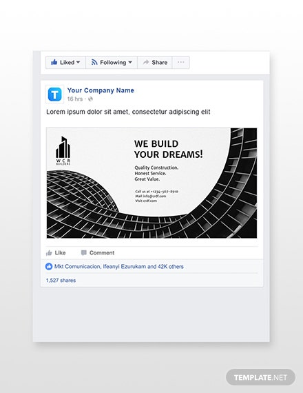 Construction Facebook Ad Banner Template