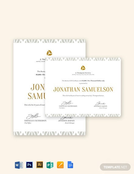 Small Business Gift Certificate Template