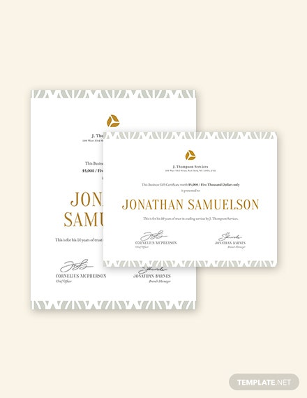 small business gift certificate