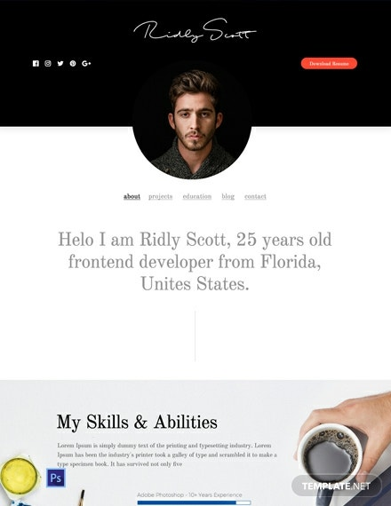 Free Resume and Portfolio Website Template
