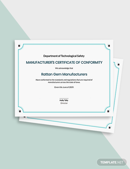 Manufacturer's Certificate of Conformance Template