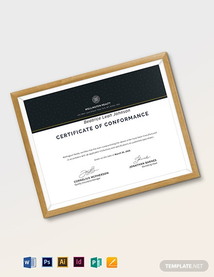 Supplier Certificate of Conformance Template