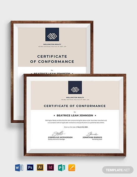 Vintage Certificate of Conformance Template