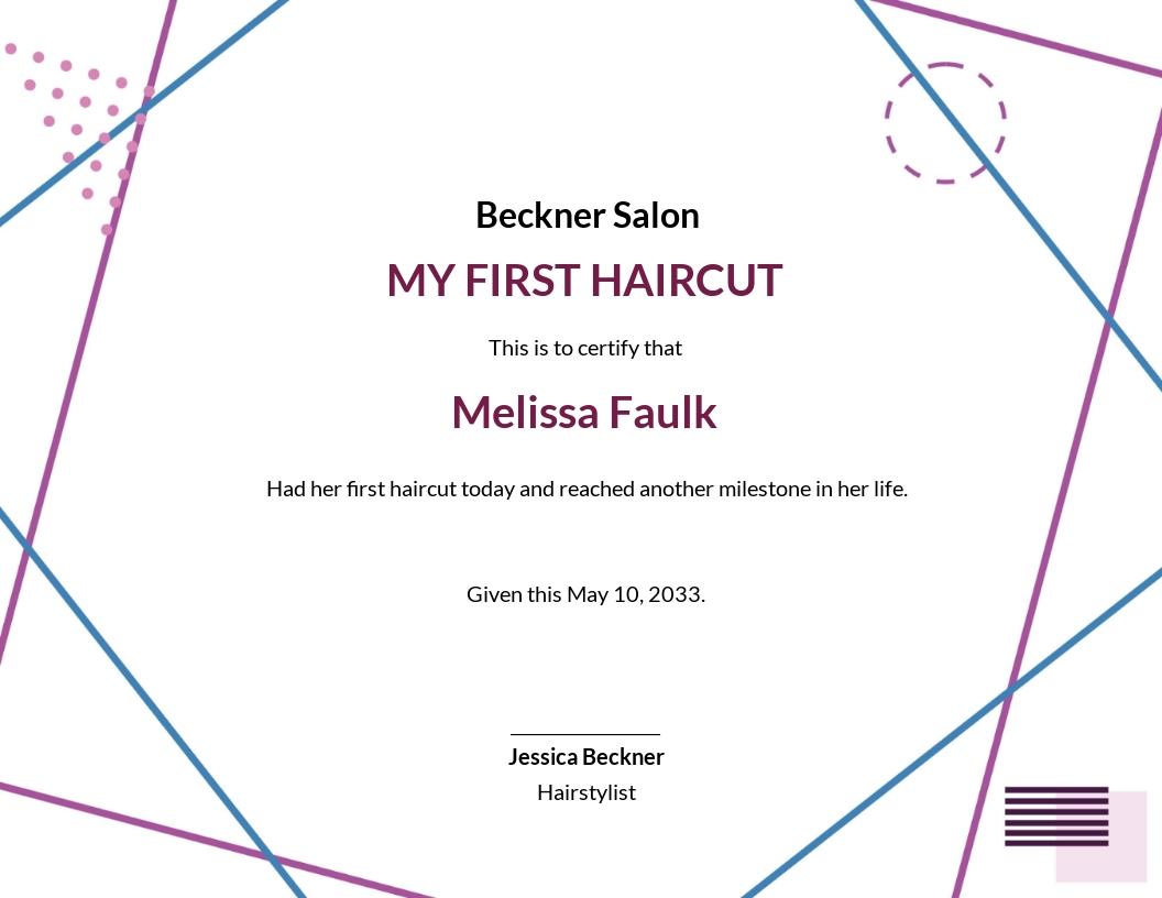 Creative First Haircut Certificate Template