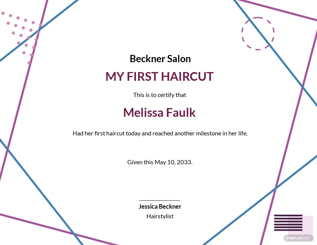 Creative First Haircut Certificate Template