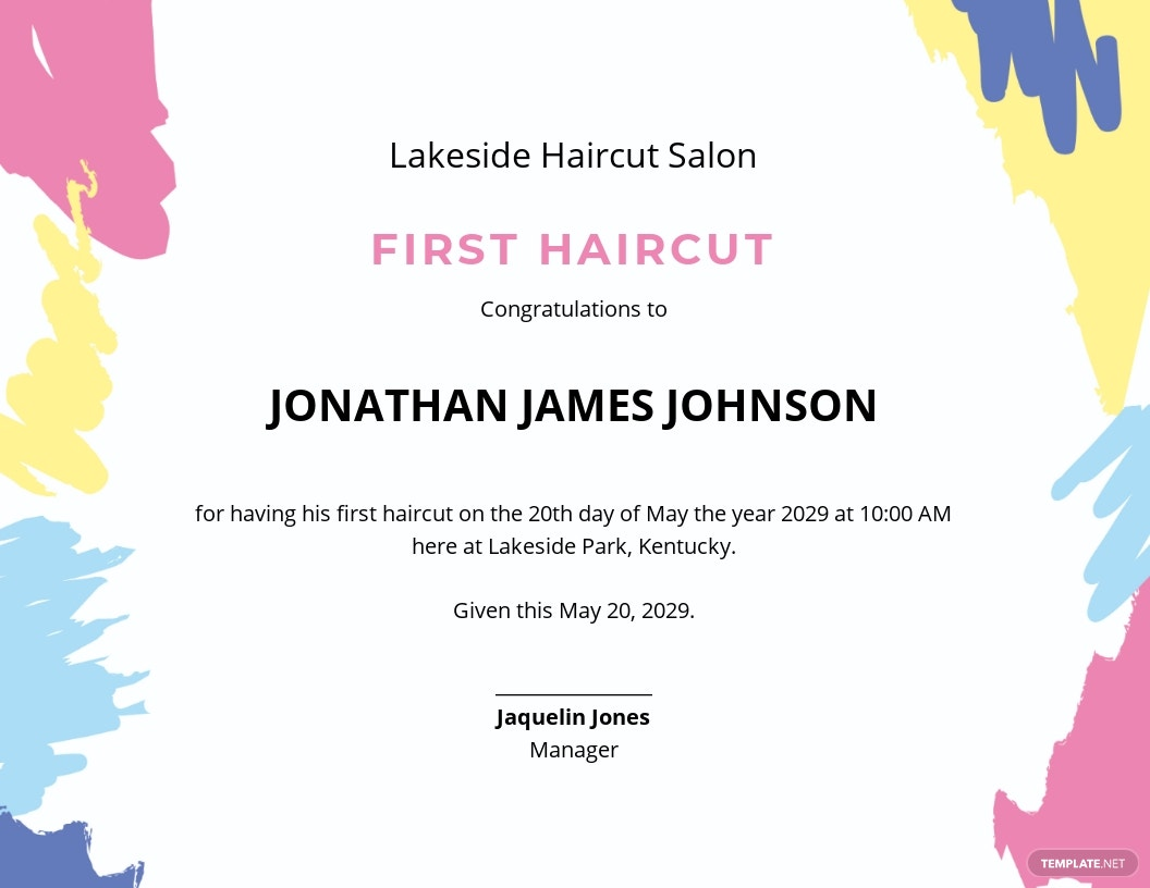 First Haircut Certificate Template