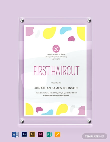 Baby First Haircut Certificate Template