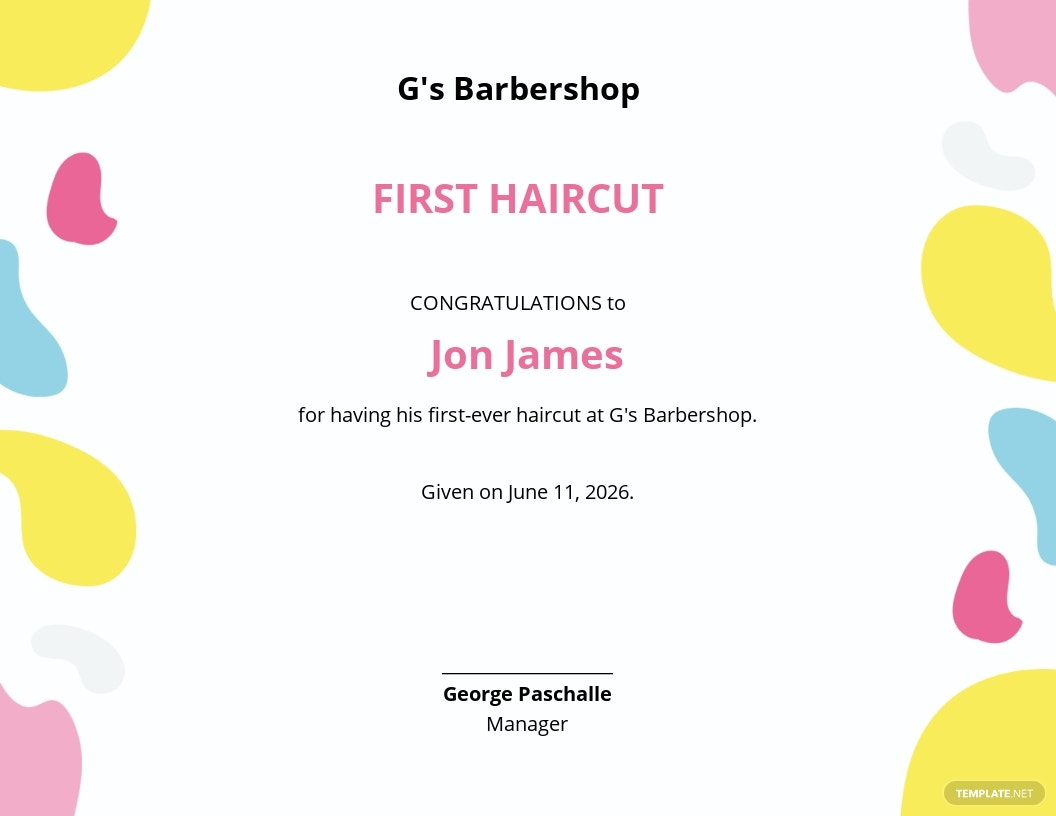 Baby First Haircut Certificate Template.jpe