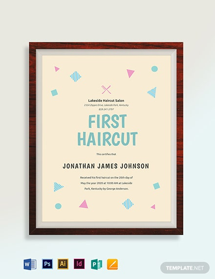 Modern First Haircut Certificate Template